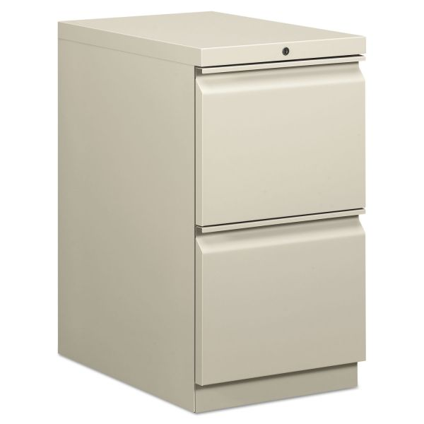 HON Efficiencies Mobile Pedestal File w/Two File Drawers, 22-7/8d, Light Gray