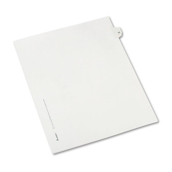 Avery Allstate-Style Legal Exhibit Side Tab Divider, Title: 22, Letter, White, 25/Pack
