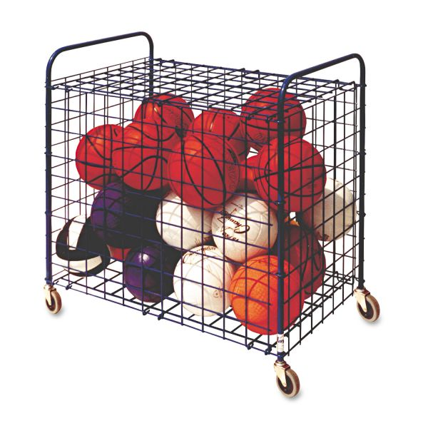 Champion Sports Portable Lockable Ball Storage Hopper Cart