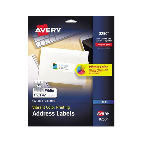 Avery Vibrant Color-Printing Address Labels, 1 x 2 5/8, Matte White, 600/Pack