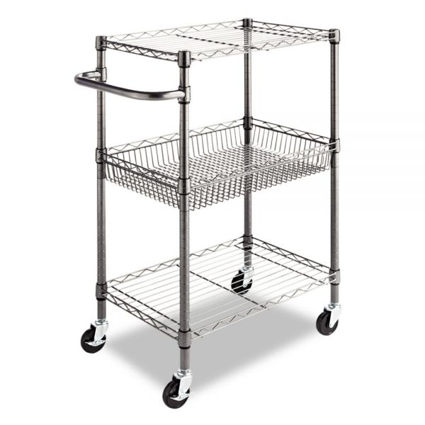 Alera Three-Tier Wire Cart with Basket, 28w x 16d x 39h, Black Anthracite