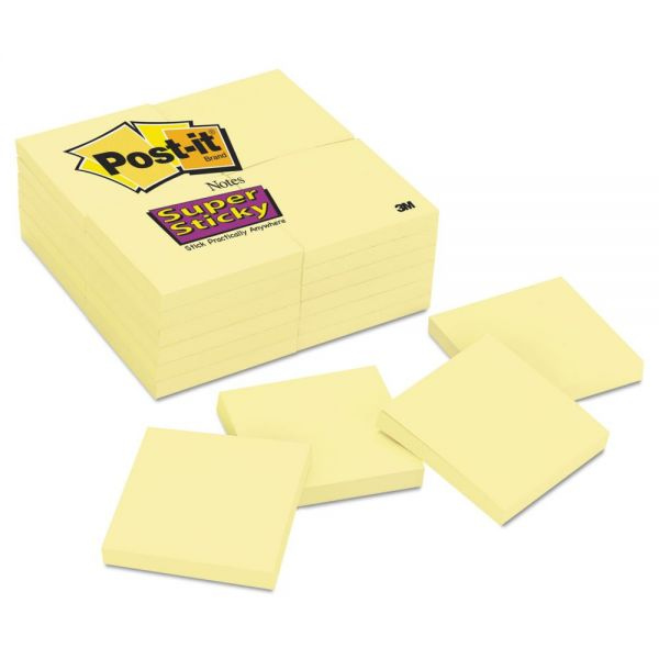 Post-it Notes Super Sticky Canary Yellow Note Pads, 3 x 3, 90-Sheet, 24/Pack
