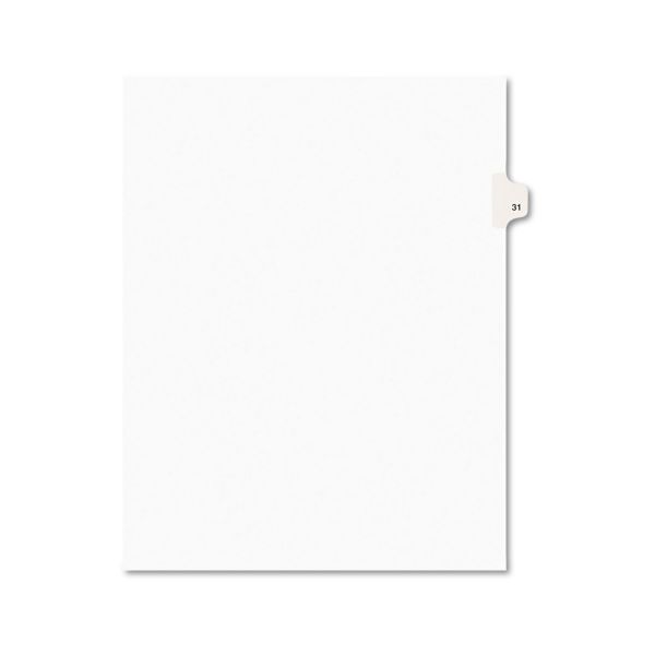 Avery-Style Legal Exhibit Side Tab Divider, Title: 31, Letter, White, 25/Pack