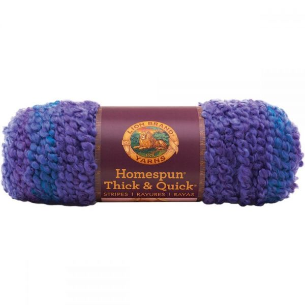 Lion Brand Homespun Thick & Quick Yarn - Violet Stripes
