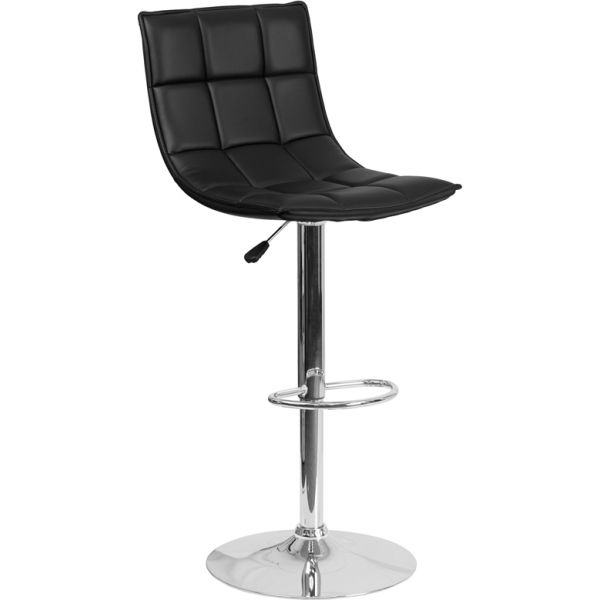 Flash Furniture Contemporary Quilted Adjustable Height Barstool with Chrome Base