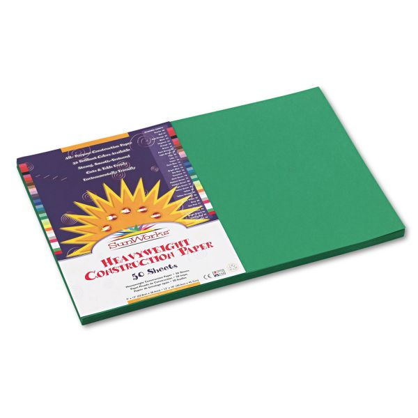 SunWorks Construction Paper, 58 lbs., 12 x 18, Holiday Green, 50 Sheets/Pack