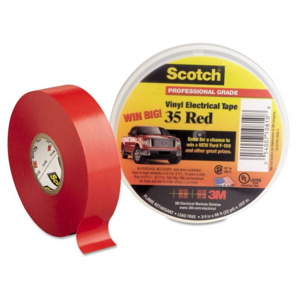 "3M Scotch 35 Vinyl Electrical Color Coding Tape, 3/4"" x 66ft, Red"