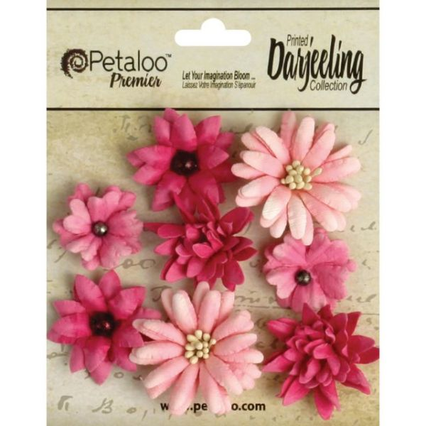 "Darjeeling Teastained Mini Mix Flowers .75"" To 1.5"" 8/Pkg"
