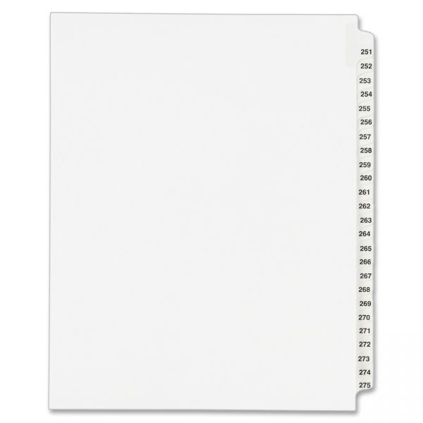 Avery-Style Legal Exhibit Side Tab Divider, Title: 251-275, Letter, White