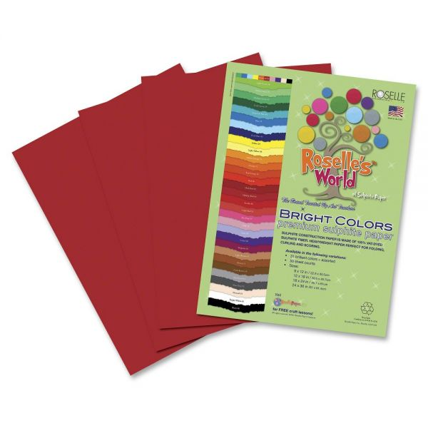 Roselle Premium Sulphite Red Construction Paper