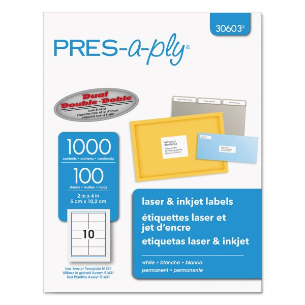 PRES-a-ply Laser Shipping Labels, 2 x 4, White, 1000/Box