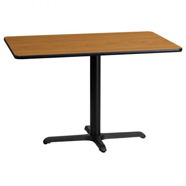Flash Furniture 24'' x 42'' Rectangular Natural Laminate Table Top with 22'' x 30'' Table Height Base