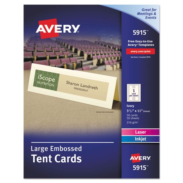 Avery 5915 Large Embossed Tent Cards