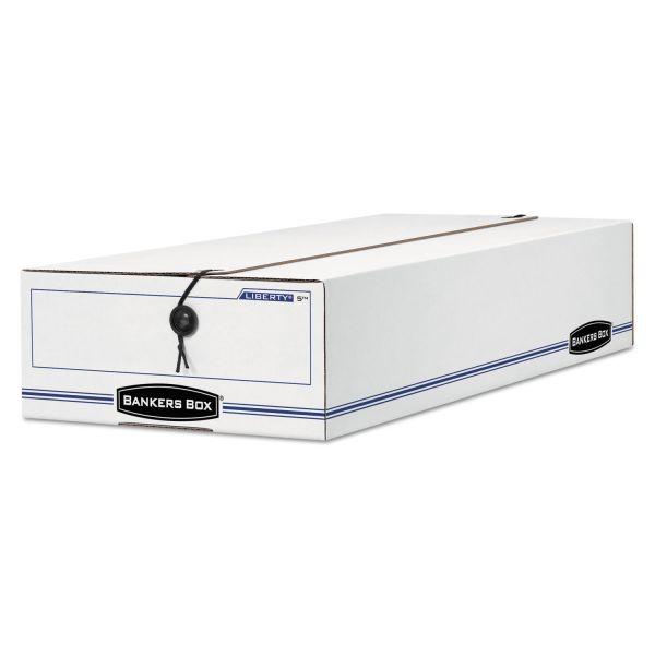Bankers Box LIBERTY Basic Storage Box, Check/Voucher, 9 x 14 1/4 x 4, White/Blue, 12/Carton