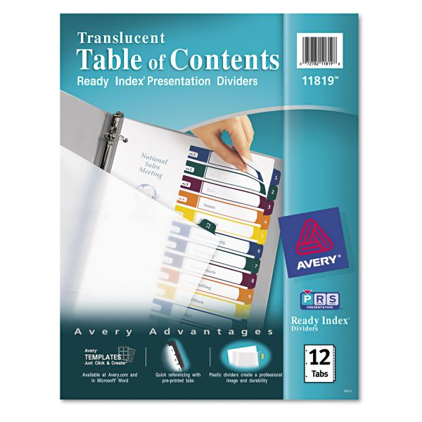 Avery Translucent Ready Index 12-Tab Numbered Dividers With Table Of Contents Page