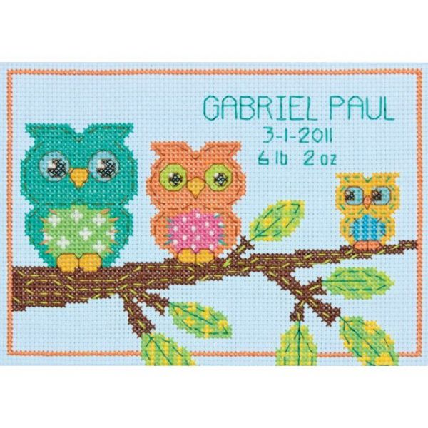 Owl Birth Record Counted Cross Stitch Kit
