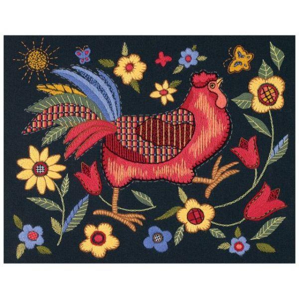 Rooster On Black Crewel Kit