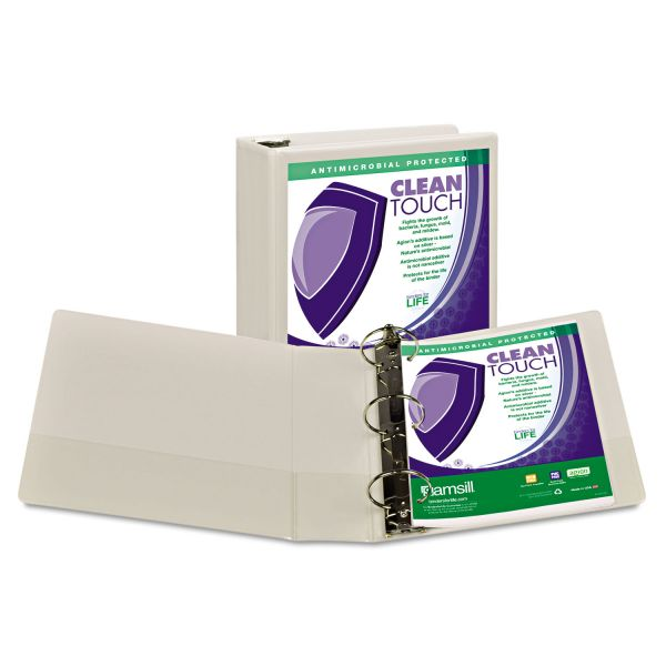 "Samsill Clean Touch Locking 3-Ring View Binder, Antimicrobial, 3"" Capacity, Round Ring, White"