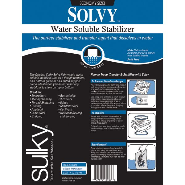 Solvy Water-Soluble Stabilizer
