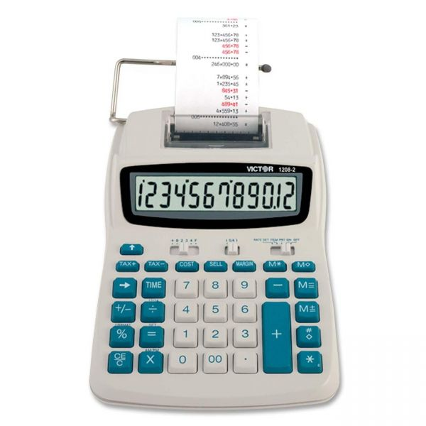 Victor 1208-2 Compact Commercial Printing Calculator