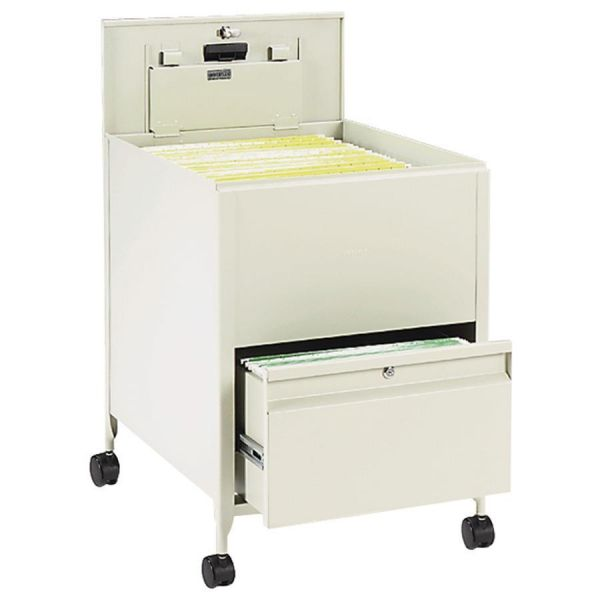 Safco Mayline Locking Mobile Tub File With Drawer, Legal Size, 20w x 25 1/2d x 27 3/4h, Putty