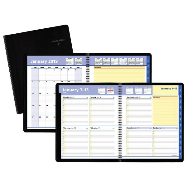 AT-A-GLANCE QuickNotes Weekly/Monthly Appointment Book, 8 x 9 7/8, Black, 2019