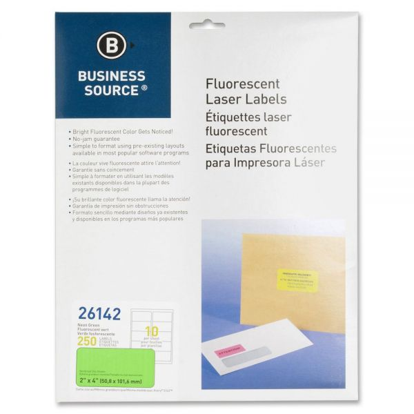 "Business Source 26142 Color Coded Label - 2"" Width x 4"" Length - 250 / Pack"