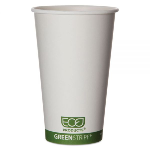 Eco-Products GreenStripe Renewable & Compostable 16 oz Paper Coffee Cups