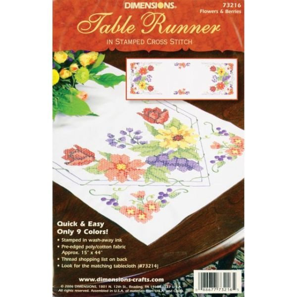 Dimensions Stamped Cross Stitch Table Runner