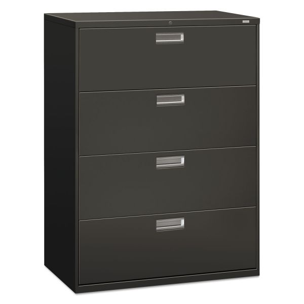 HON 600 Series Four-Drawer Lateral File, Letter/Legal/A4, 42w x 19-1/4d, Charcoal