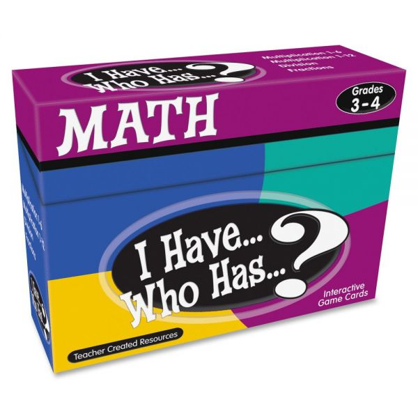 Teacher Created Resources I Have, Who Has Math Game Grade 3-4