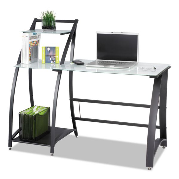 Safco Xpressions Computer Workstation, 53-1/4w x 25-1/2d x 45-1/4h, Frosted/Black