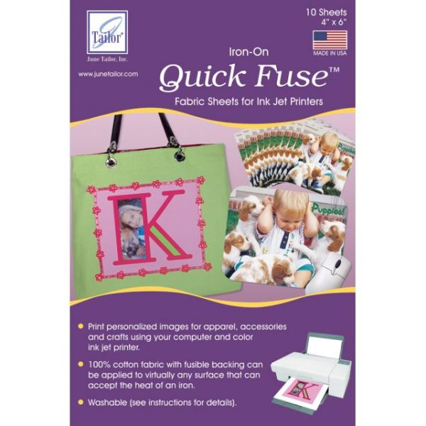 "Quick Fuse Iron-On Ink Jet Fabric Sheets 4""X6"" 10/Pkg"