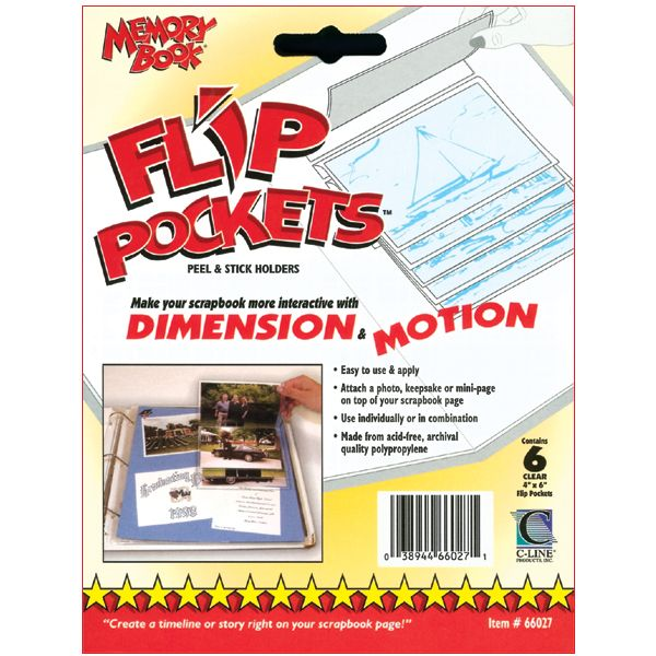 "Flip Pockets Peel & Stick Holders 4""X6"" 6/Pkg"