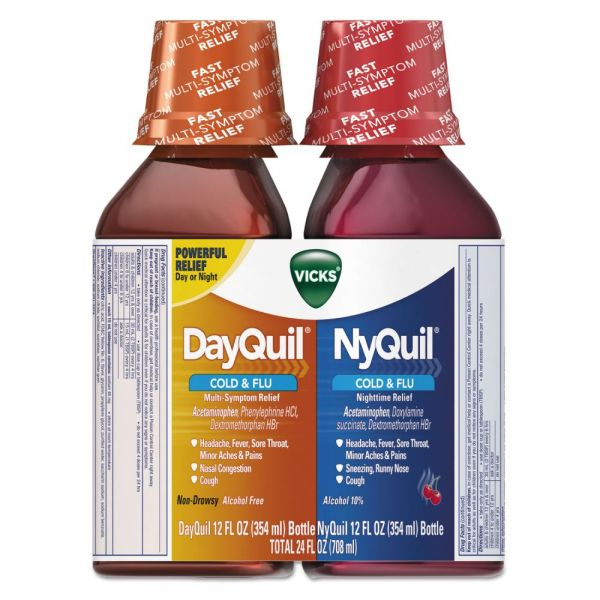 Vicks DayQuil/NyQuil Cold & Flu Liquid Combo Pack, 12 oz Day, 12 oz Night