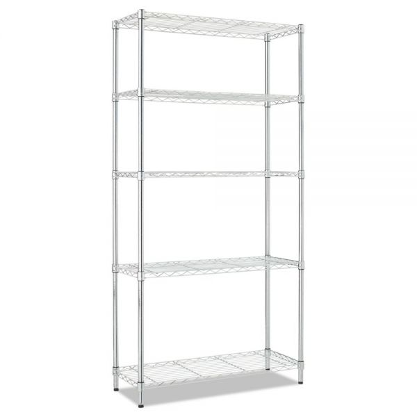 Alera Residential Wire Shelving, Five-Shelf, 36w x 14d x 72h, Silver