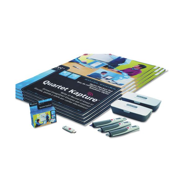 Quartet Kapture Digital Flipchart Premium Kit, 3 Pens, 4 Flipcharts, USB Receiver