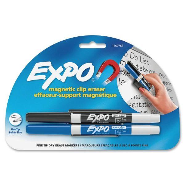 EXPO Magnetic Clip Eraser w/2 Markers, Fine, Black/Blue, 1 Set
