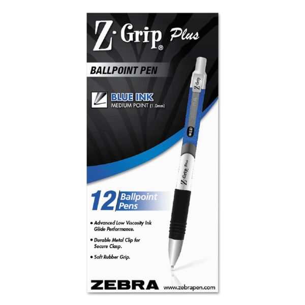 Zebra Z-Grip Plus Retractable Ballpoint Pens