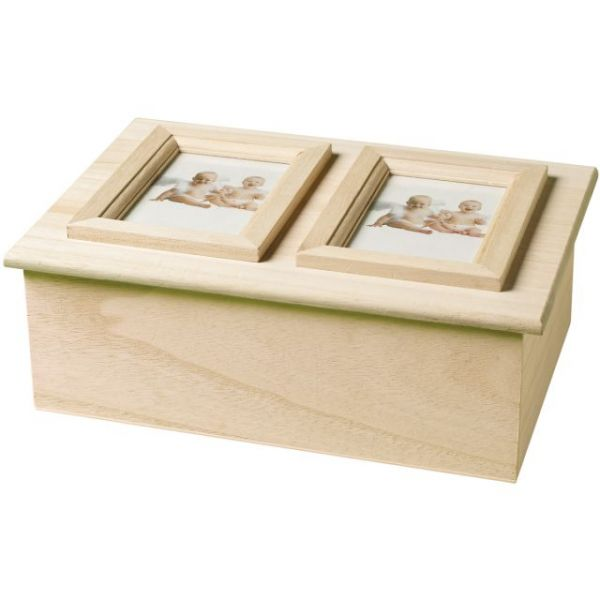 Plaid Wood Memory Box Double Picture Frame