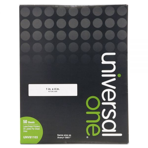 Universal One Permanent Clear Address Labels