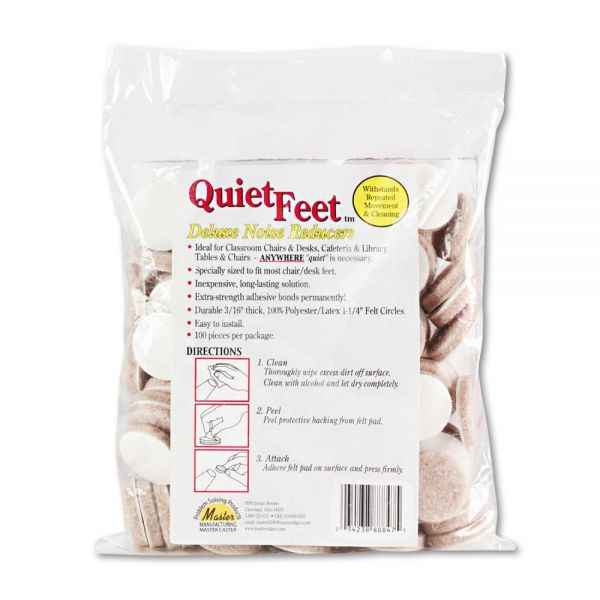 """Master Caster Quiet Feet Deluxe Noise Reducers, 1 1/4"""" dia, Circular, Beige, 100/Pack"""