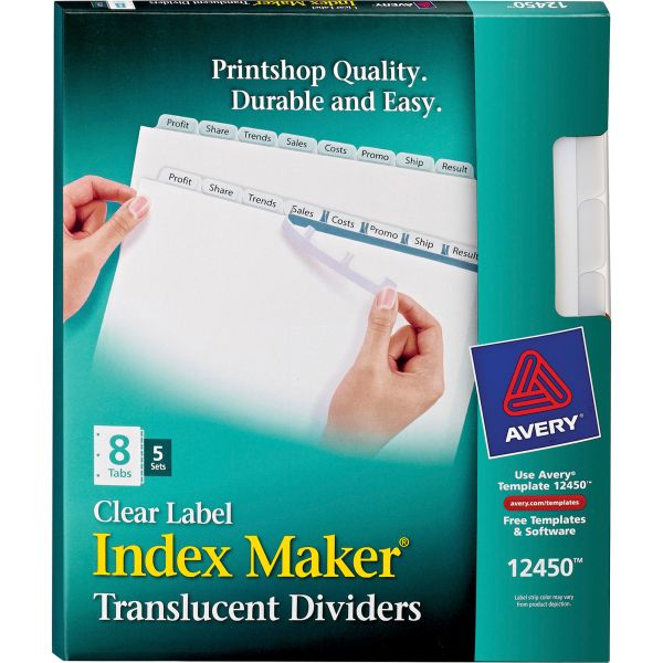 Avery Index Maker Print & Apply Clear Label Plastic Dividers, 8-Tab, White Tab, Letter, 5 Sets