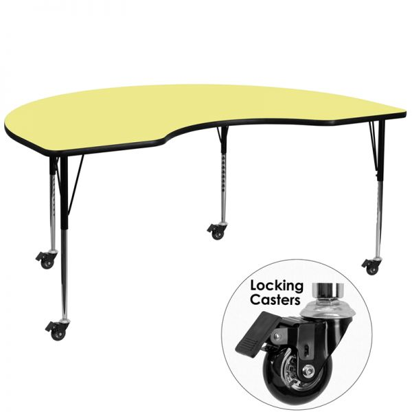 Flash Furniture Mobile Height Adjustable Kidney Shaped Activity Table