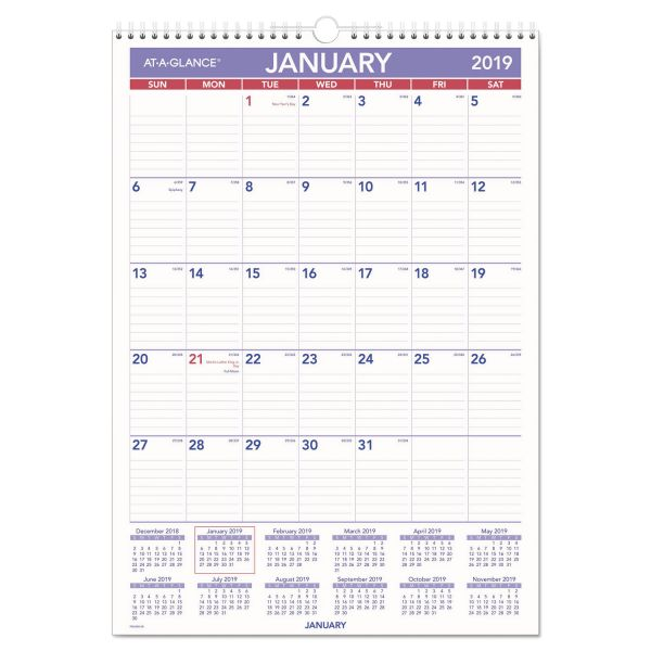 AT-A-GLANCE Erasable Wall Calendar, 12 x 17, White, 2019
