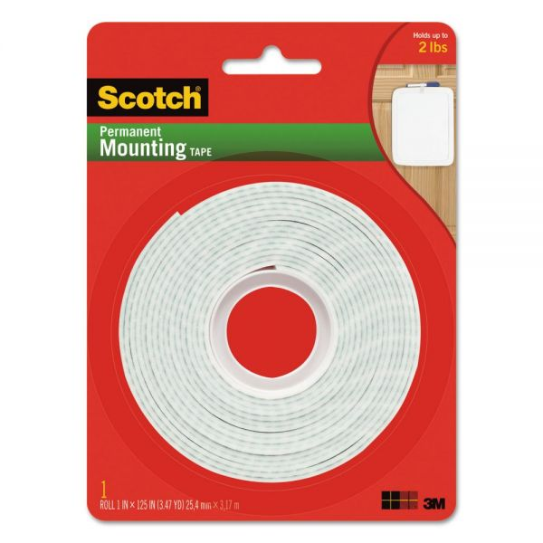 "Scotch Permanent High-Density Foam Mounting Tape, 1"" Wide x 125"" Long"