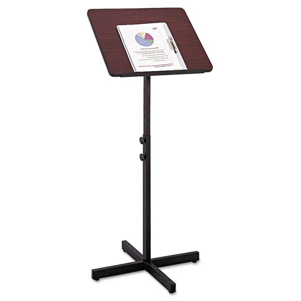 Safco Adjustable Speaker Stand, 21w x 21d x 29-1/2h to 46h, Mahogany/Black