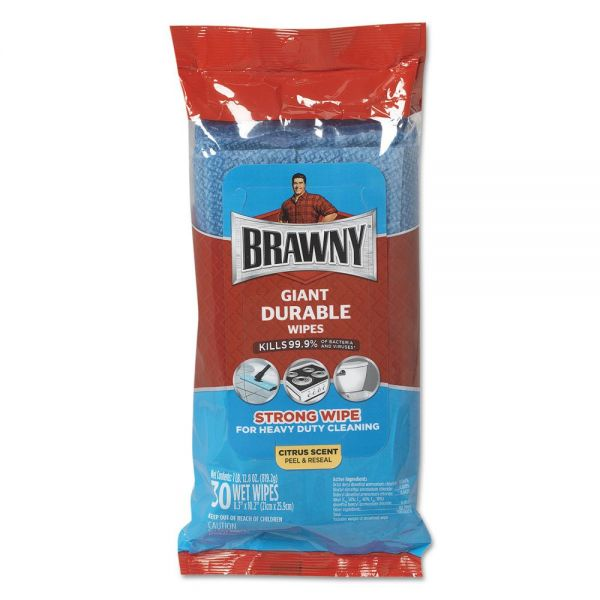 Brawny Giant Durable Disinfecting Wipes, Citrus, 10 1/5 x 8.3, Blue, 30/Pack,10Pk/Ctn