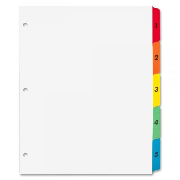 Sparco Quick Index 5-Tab Numbered Dividers With Table Of Contents Page