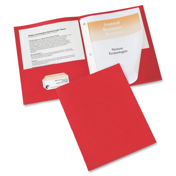 Avery Two-Pocket Folder with Prong Fasteners, 50-Sheet Capacity, Red, 25/Box